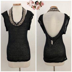 BEBE | Embellished Black Open Back Cuffed Blouse